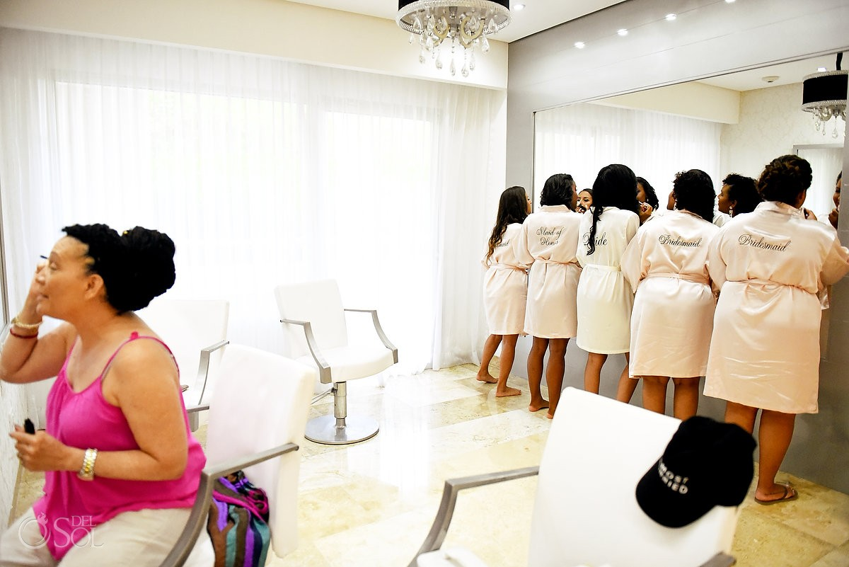 bridal party getting ready make up bridal suite Paradisus la Perla Playa del Carmen, Mexico