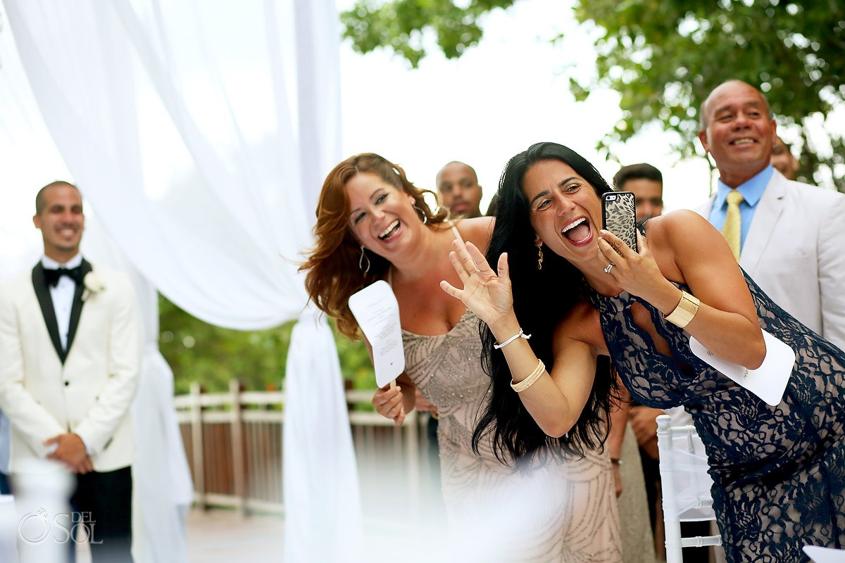 guest wedding having fun ceremony moments, Paradisus la Perla Playa del Carmen, Mexico