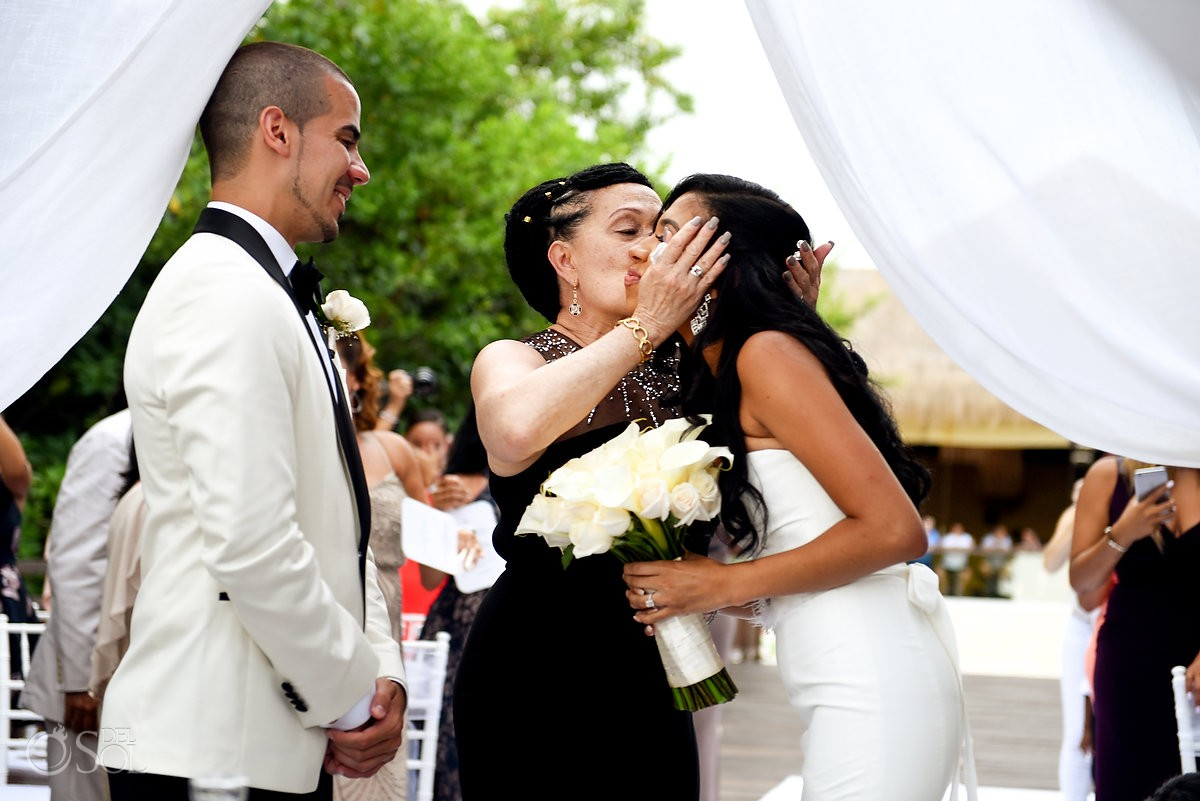 mom gives away bride destination wedding Paradisus la Perla Playa del Carmen, Mexico
