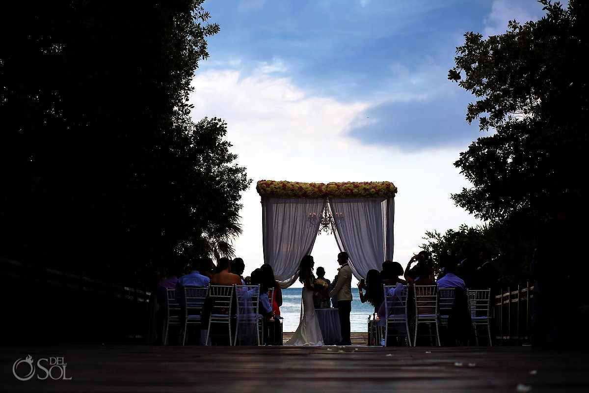 artristic silhouette beach view, destination wedding ceremony Gabi Bridge Paradisus Playa del Carmen