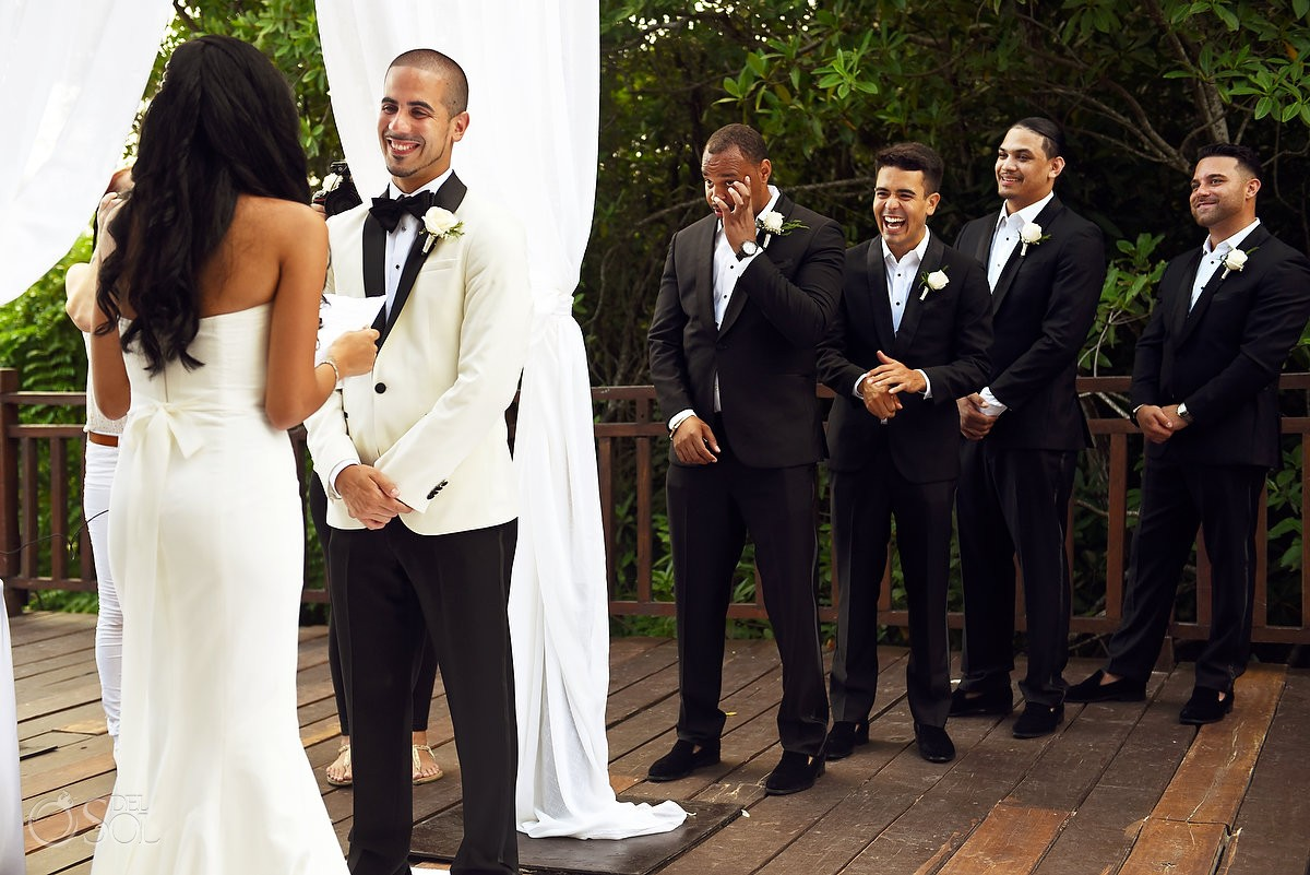 emotional groomsman wedding ceremony Paradisus la Perla Playa del Carmen Mexico