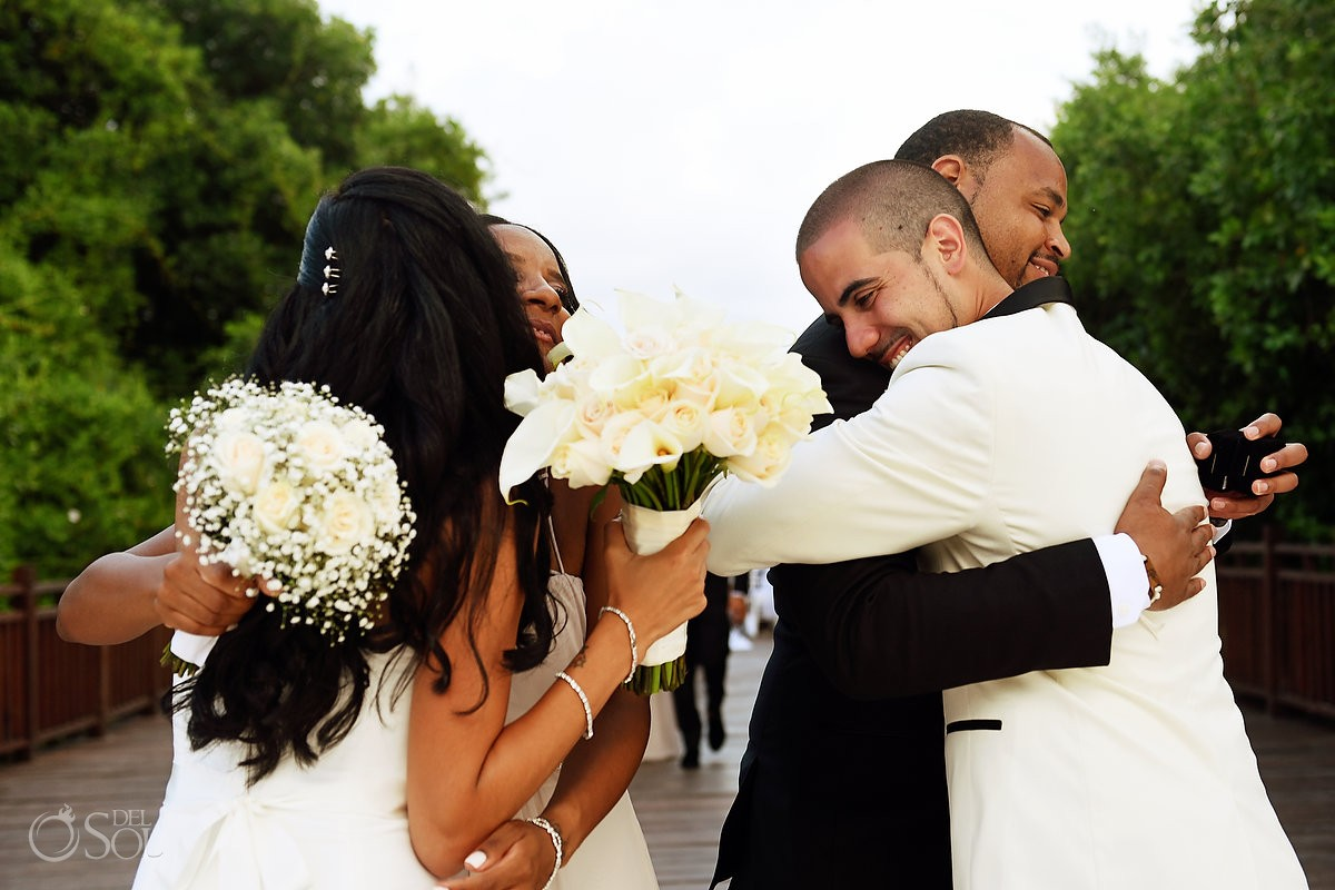 wedding hugs best friends destination wedding Paradisus la Perla Playa del Carmen, Mexico