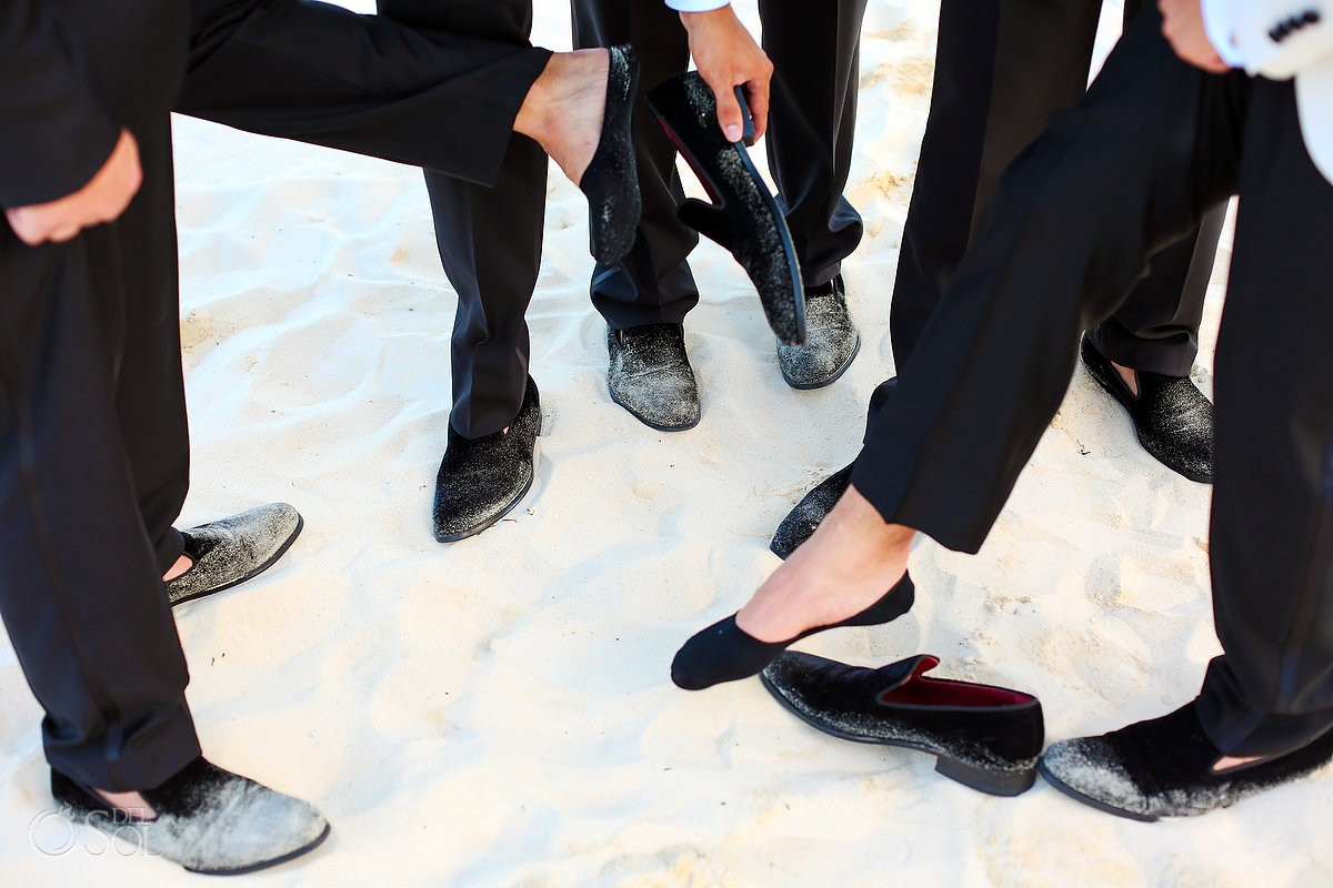 groom groomsmen velvet slippers