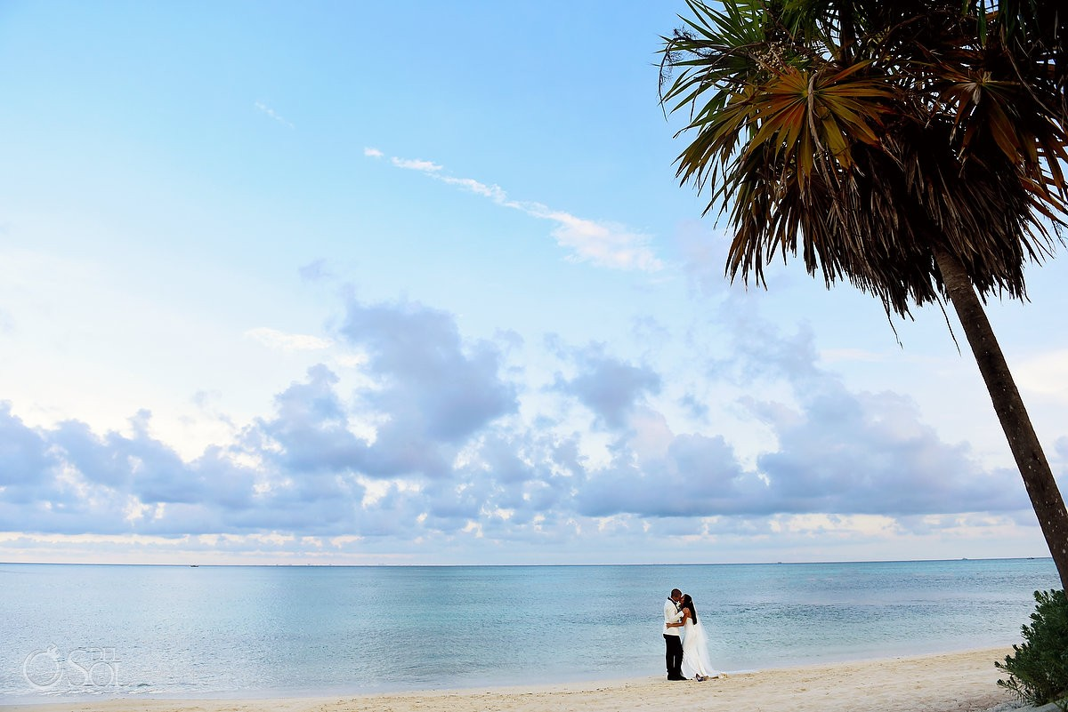beach bride and groom portrait, destination wedding Paradisus la Perla Playa del Carmen, Mexico