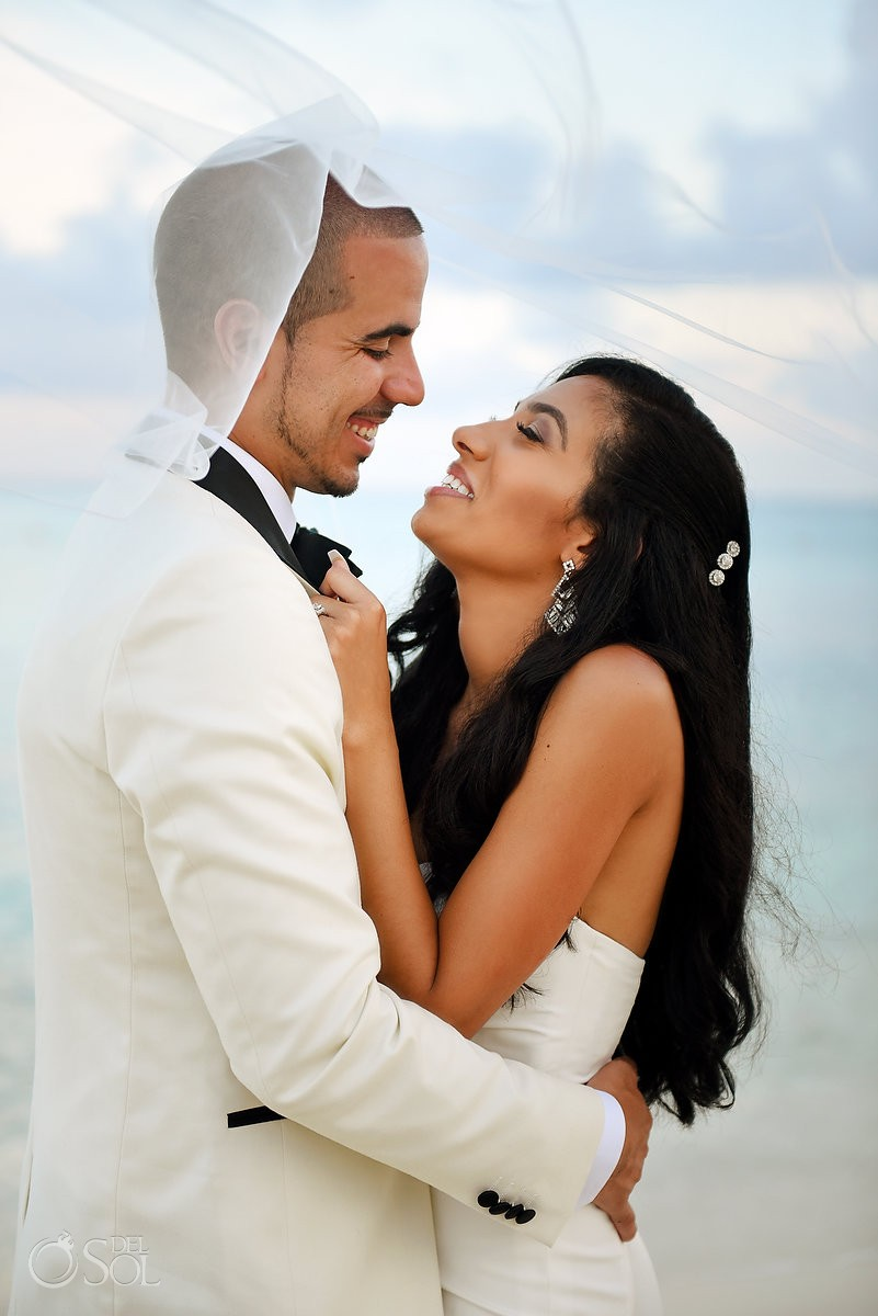 bride and groom in love, beach wedding portrait, Paradisus la Perla Playa del Carmen, Mexico