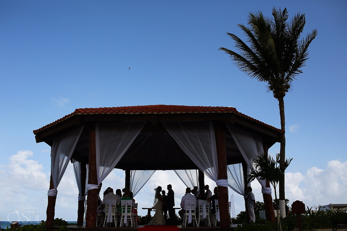 bridal party silhouette gazebo wedding Royal Playa del Carmen Mexico
