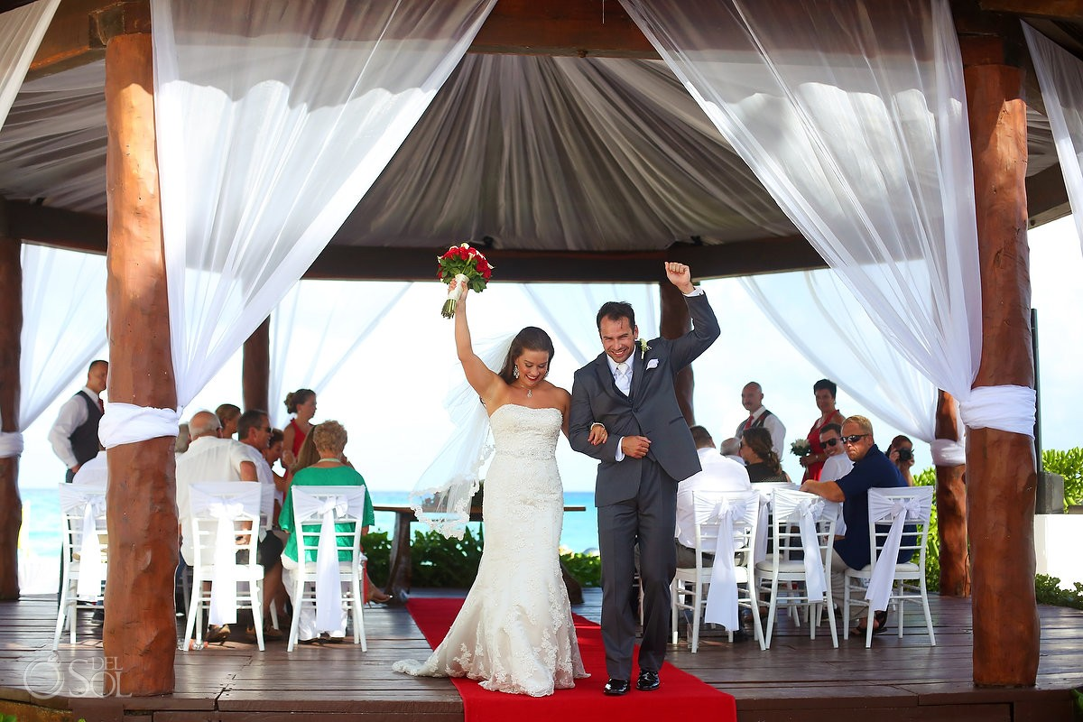 bride and groom just married wedding Royal Playa del Carmen Mexico