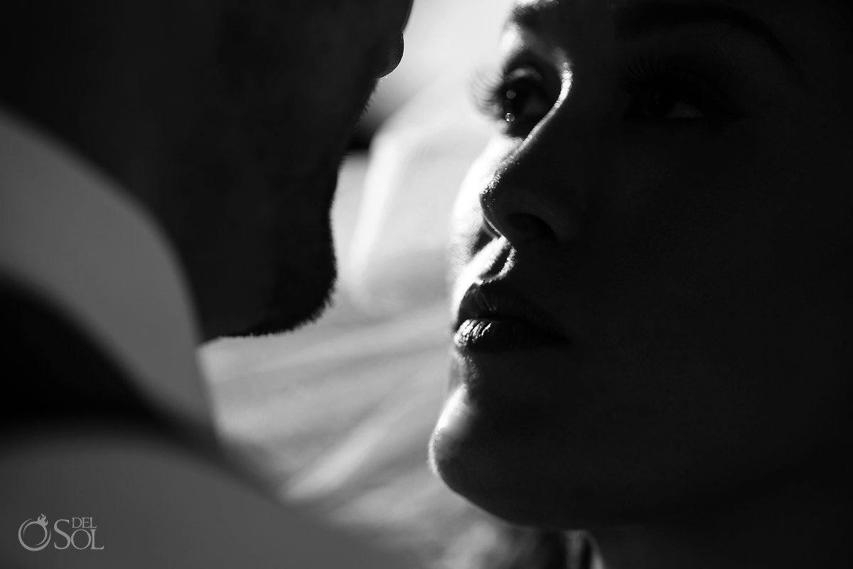 Artistic black white bride groom portrait