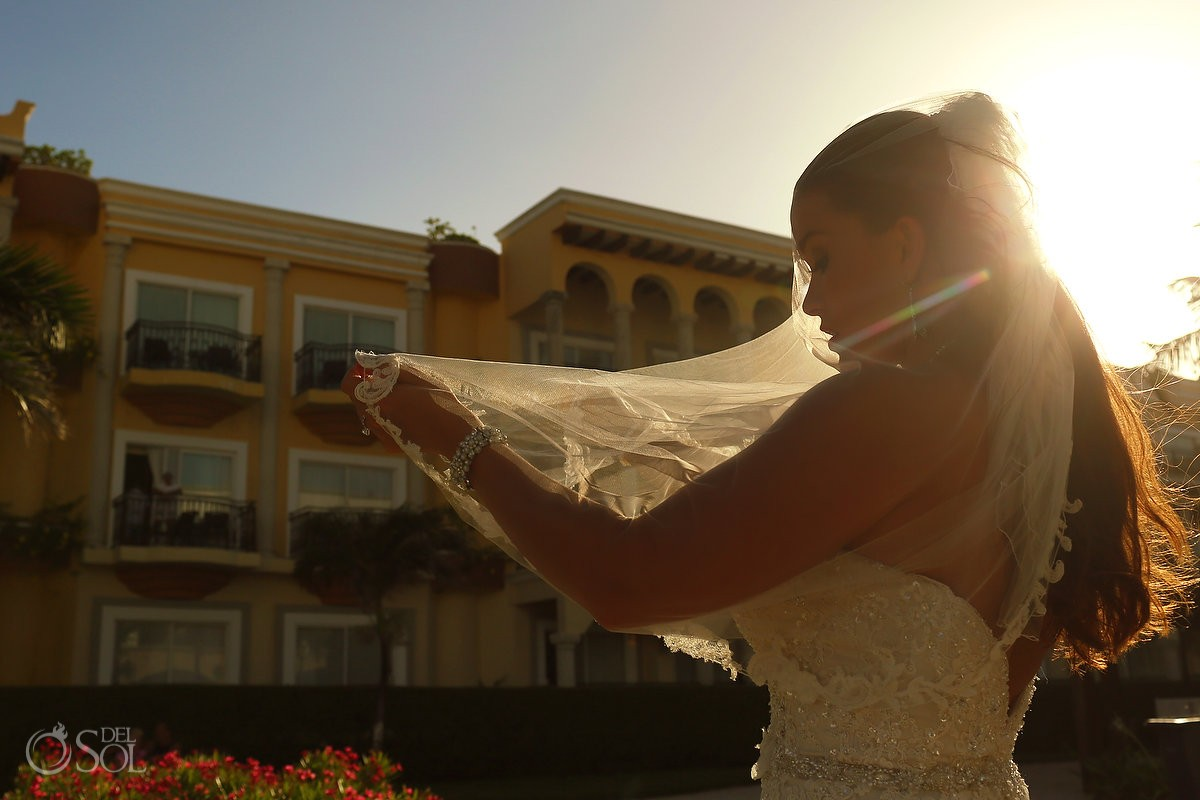 beautiful bride sunset portrait Royal Playa del Carmen Mexico