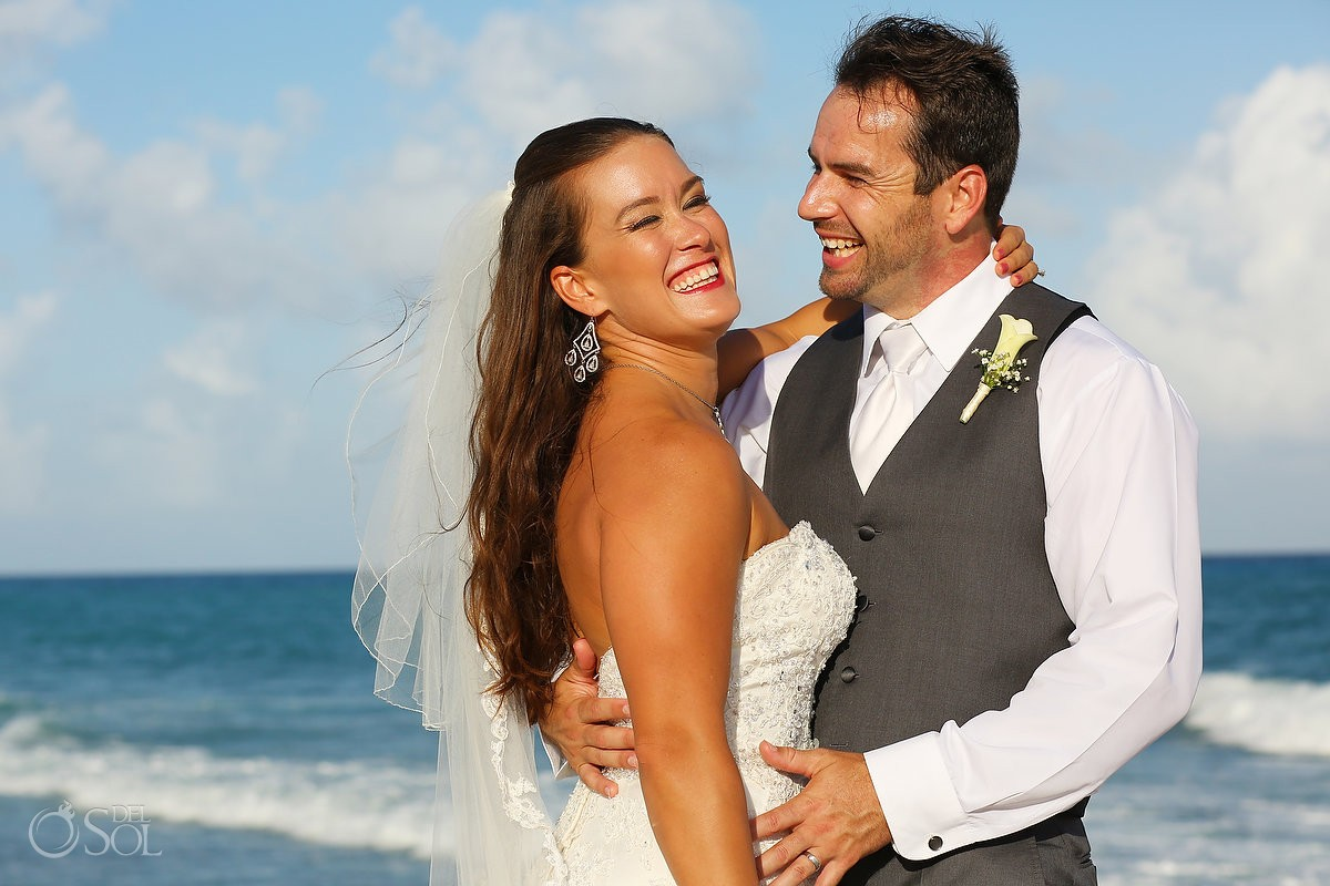 bride and groom beach portrait wedding Royal Playa del Carmen Mexico