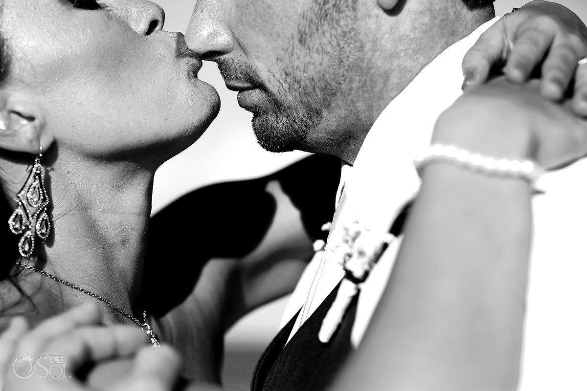 sweet kiss bride and groom wedding Royal Playa del Carmen Mexico