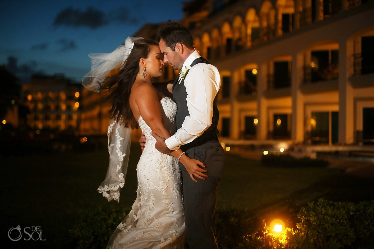 beautiful bride and groom night portrait wedding Royal Playa del Carmen Mexico