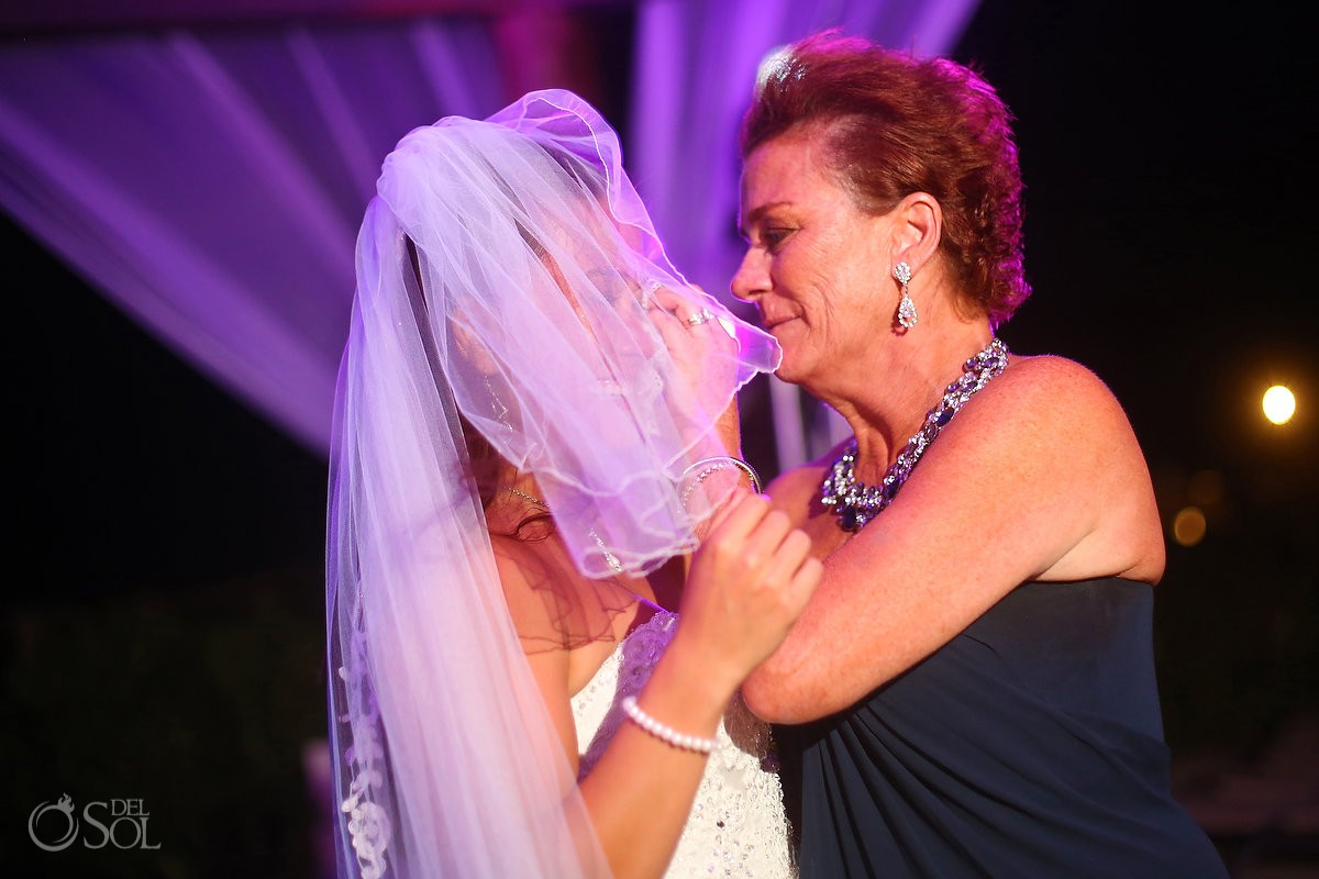 bride and mom crying wedding reception Royal Playa del Carmen Mexico