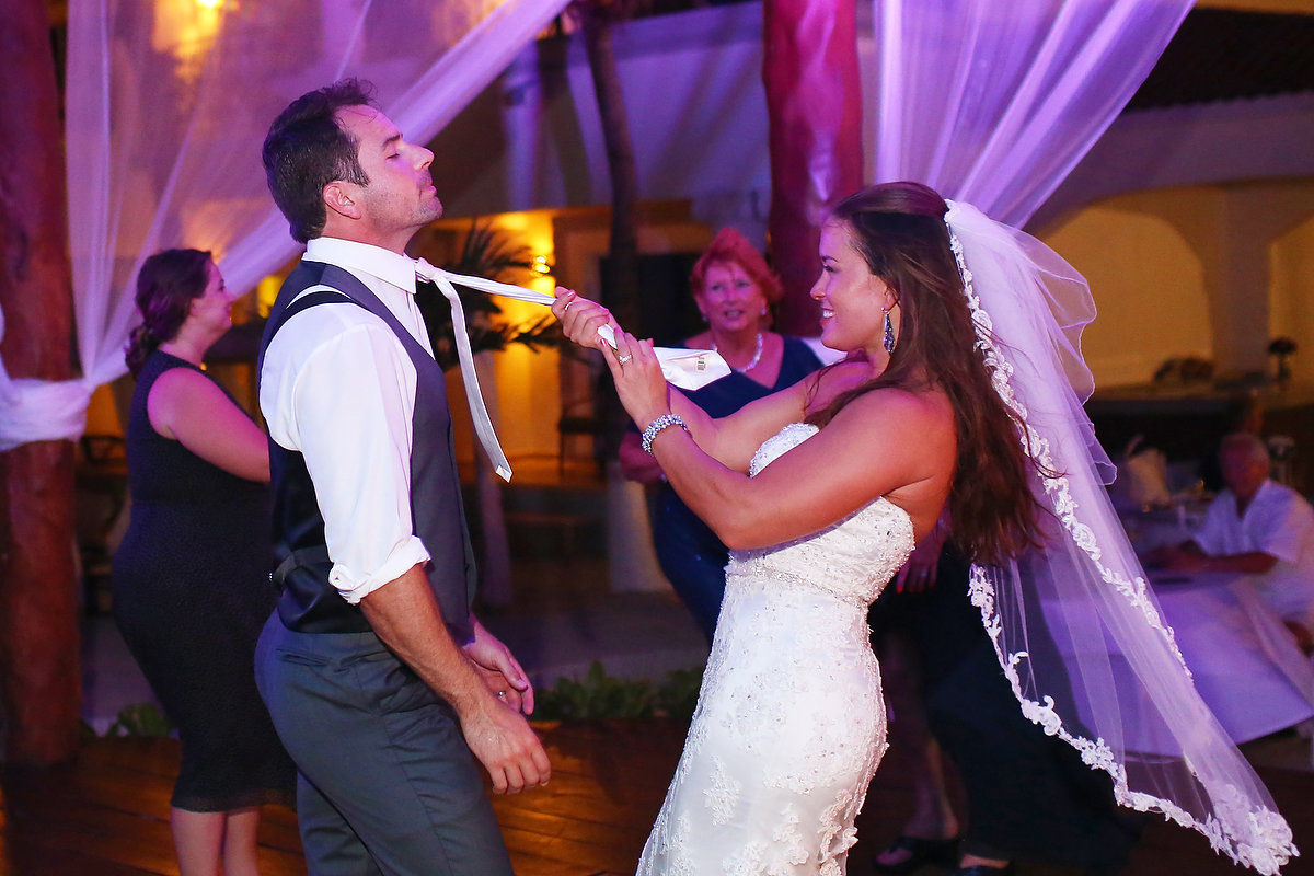 bride groom playing dance floor wedding Royal Playa del Carmen Mexico