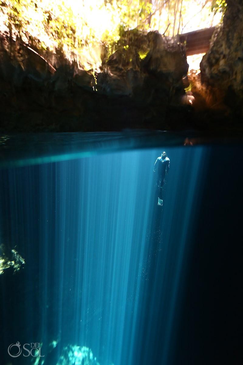 epic light rays pit cenote riviera maya mexico free-diving