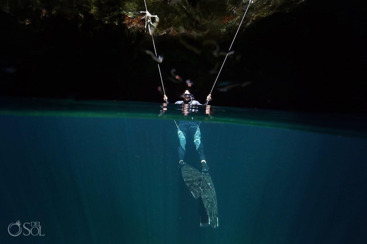 free dive Mexican cenote calavera