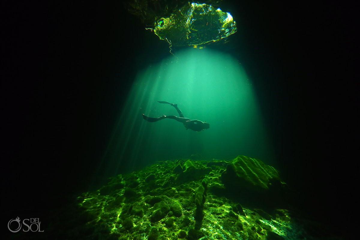 free diver Calavera cenote tulum mexico