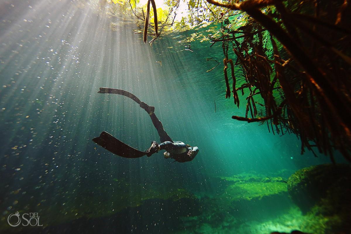 casa cenote free diving riviera maya mexico