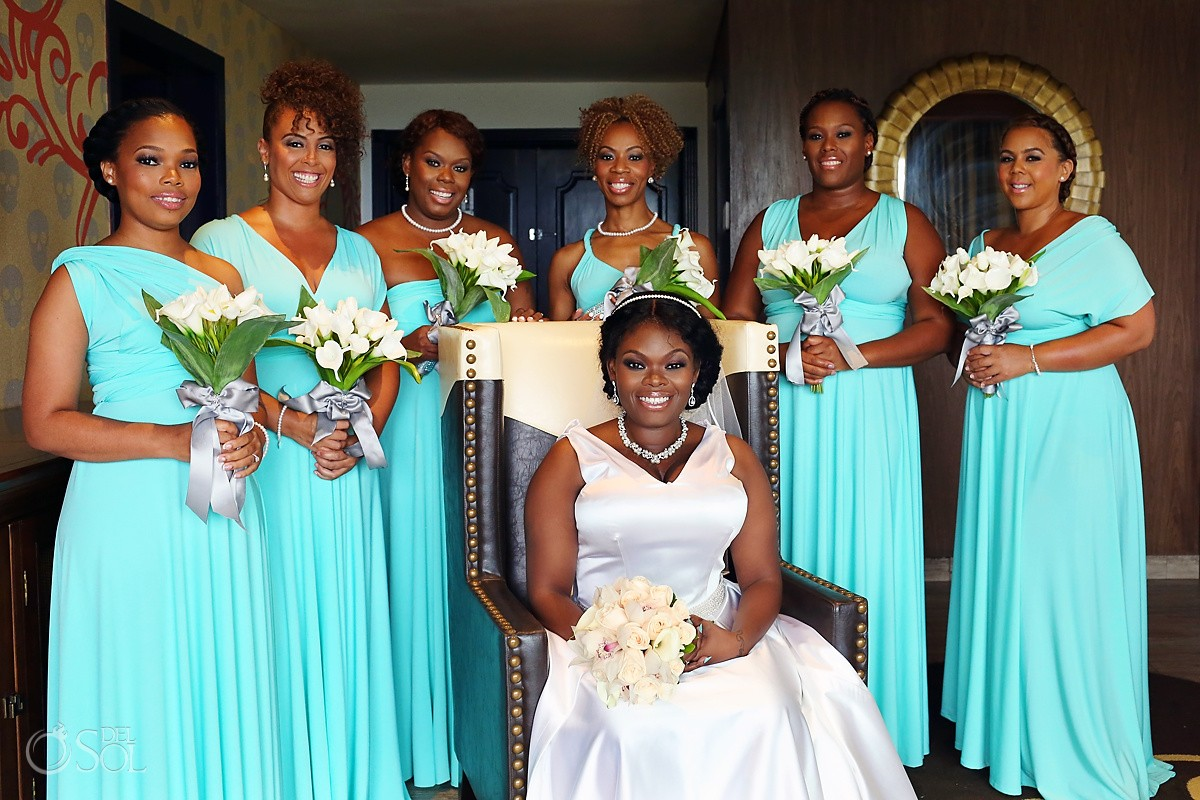 bride bridesmaids formal photo getting ready destination wedding reception Hard Rock Riviera Maya