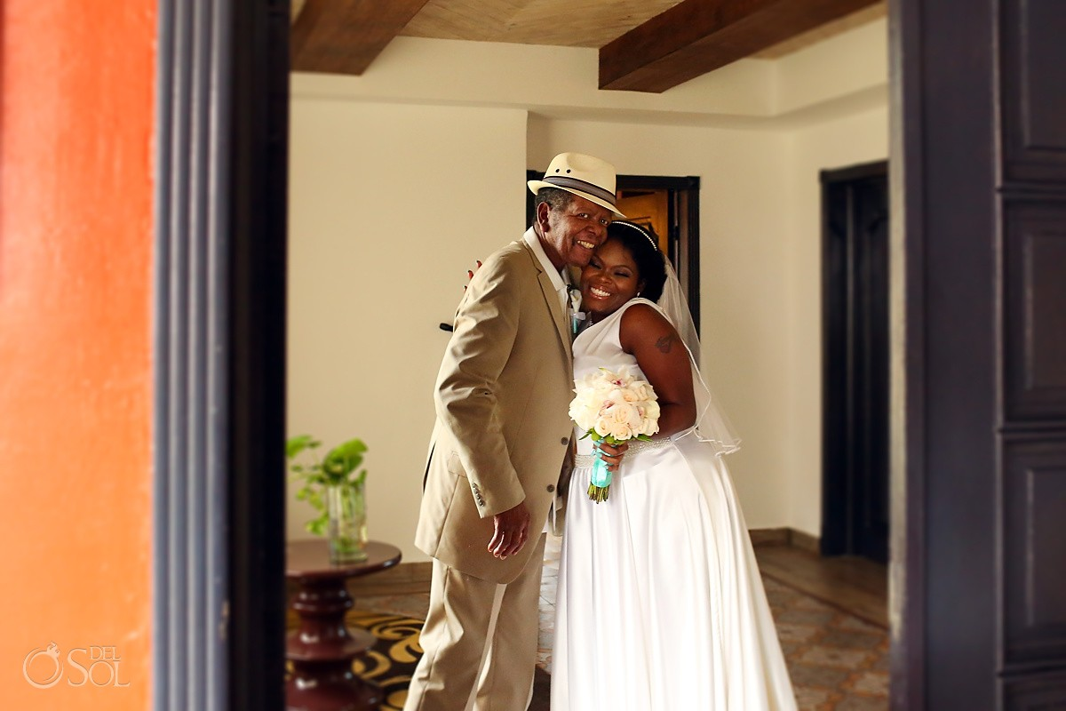 bride and father hug emotional getting ready moment Hard Rock Hotel Riviera Maya