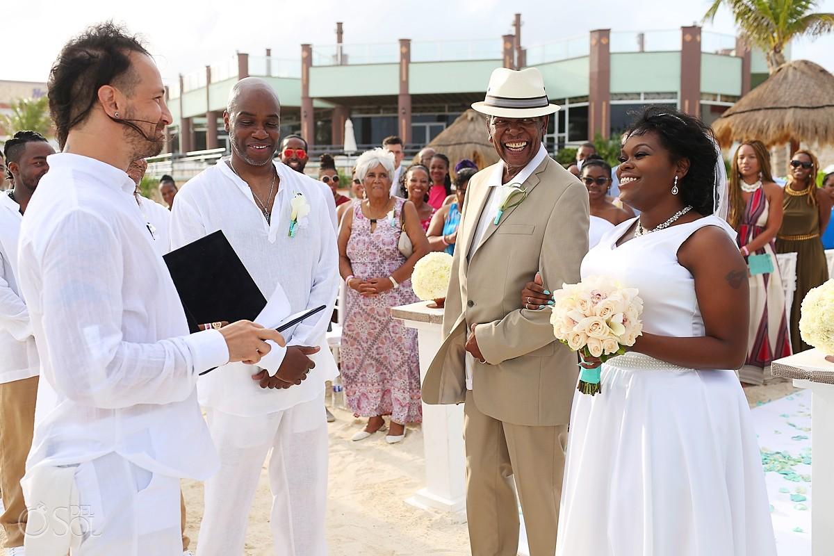 bride entrance beach Wedding at Hard Rock Hotel Riviera Maya