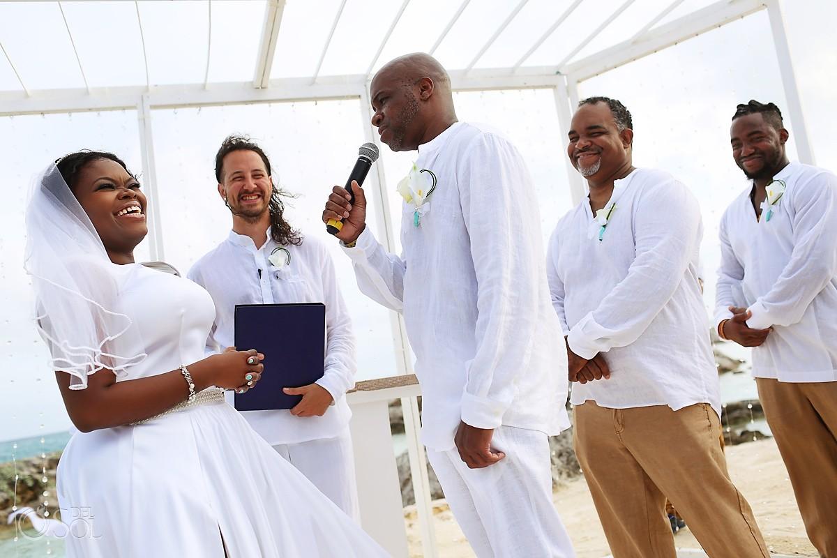 Beach wedding Hard Rock Riviera Maya groom reading vows
