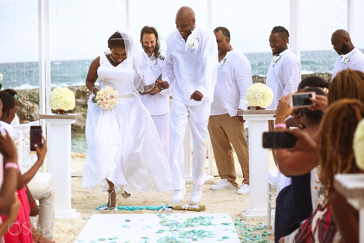 jumping the broom african American Wedding Tradition Beach Hard Rock Riviera Maya