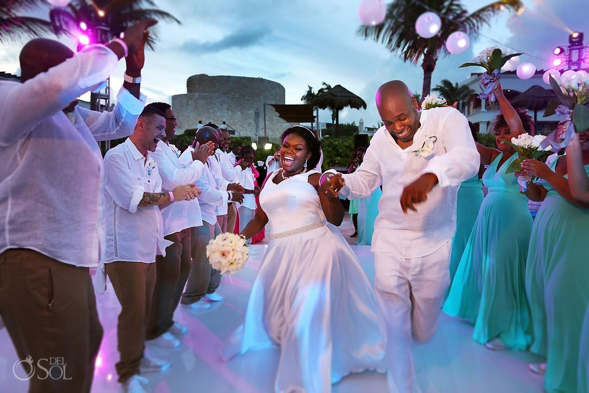 #travelforlove bride groom epic fun destination wedding reception entrance, Hard Rock Riviera Maya