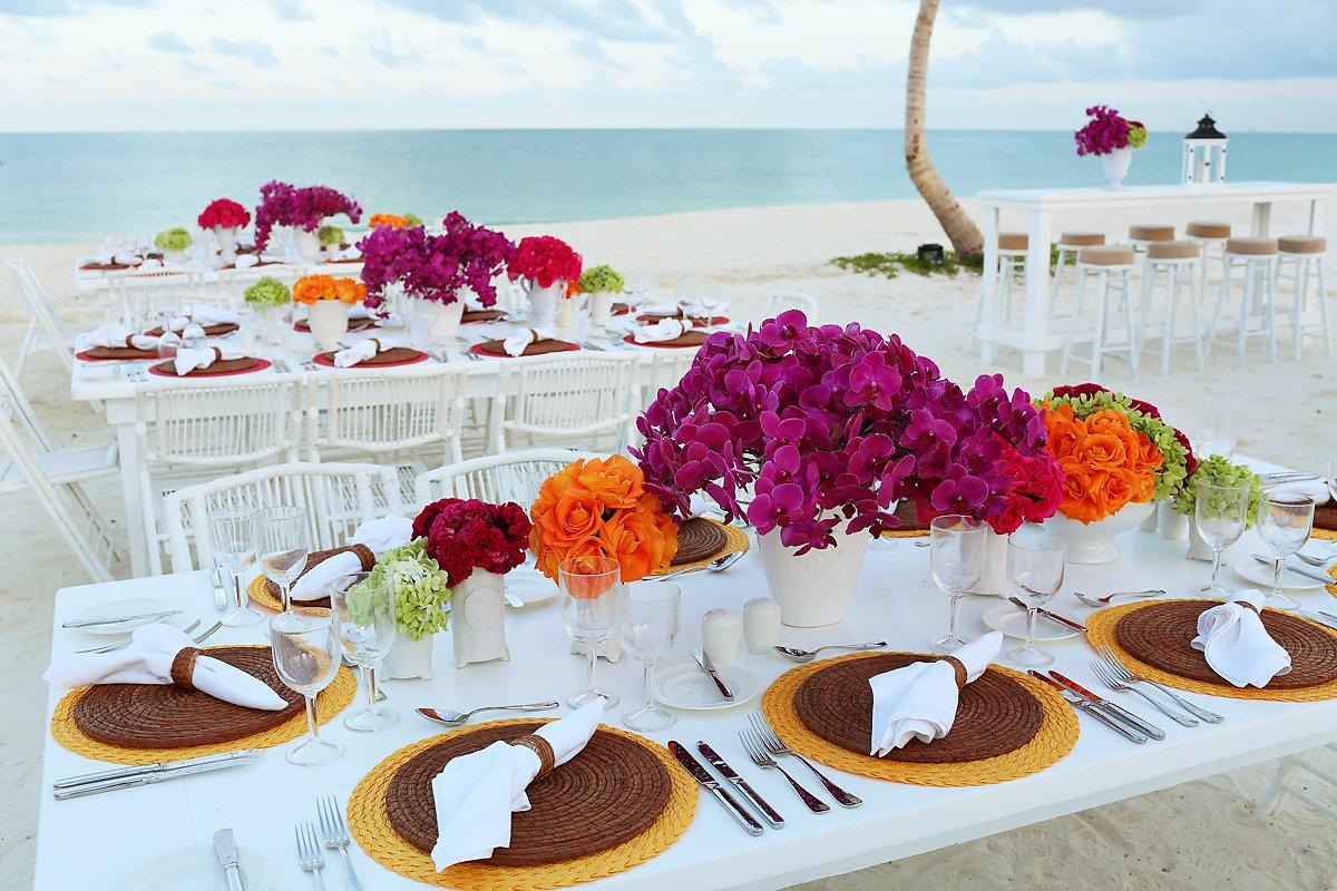 Andaz Mayakoba beach party colorful floral setup #KTMayakoba Karen Tran Floral Designs Masterclass welcome party