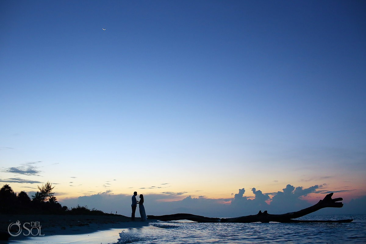 sunrise beach trash the dress silhouette crescent Moon Playa del Carmen, Mexico