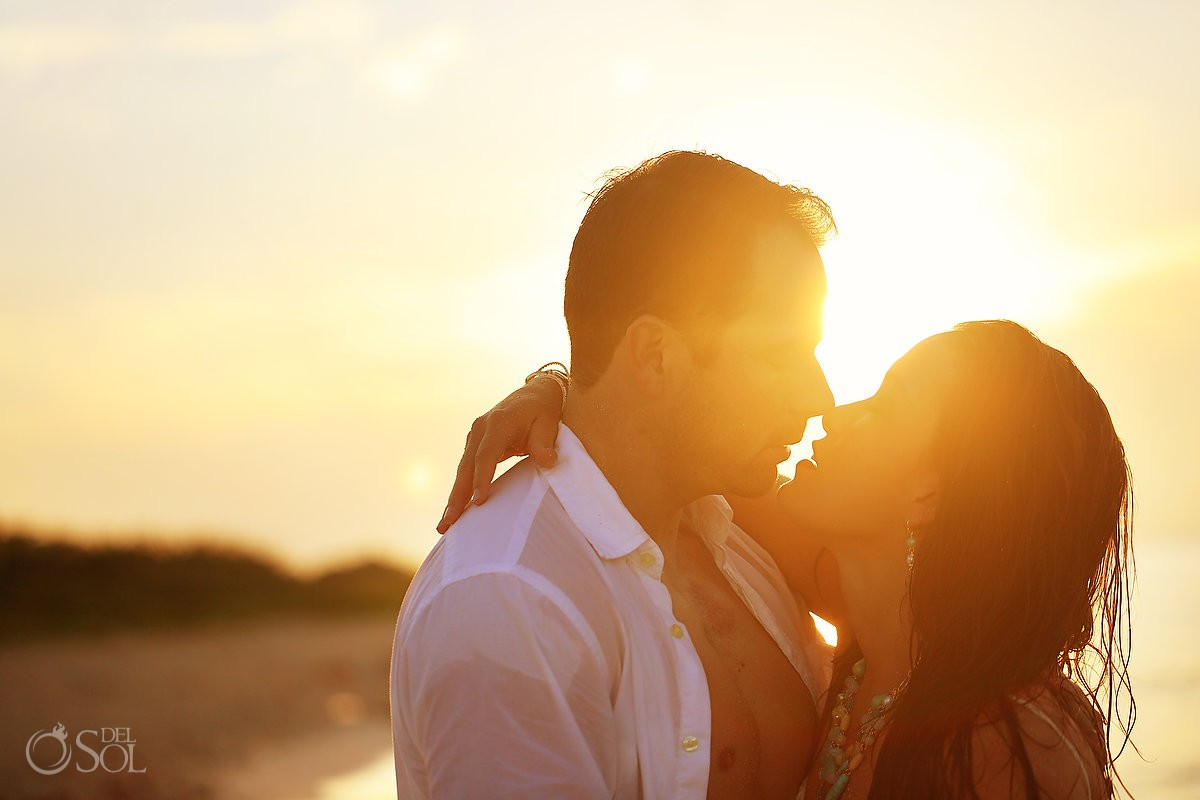 sunrise beach trash the dress wedding portrait Playa del Carmen, Mexico