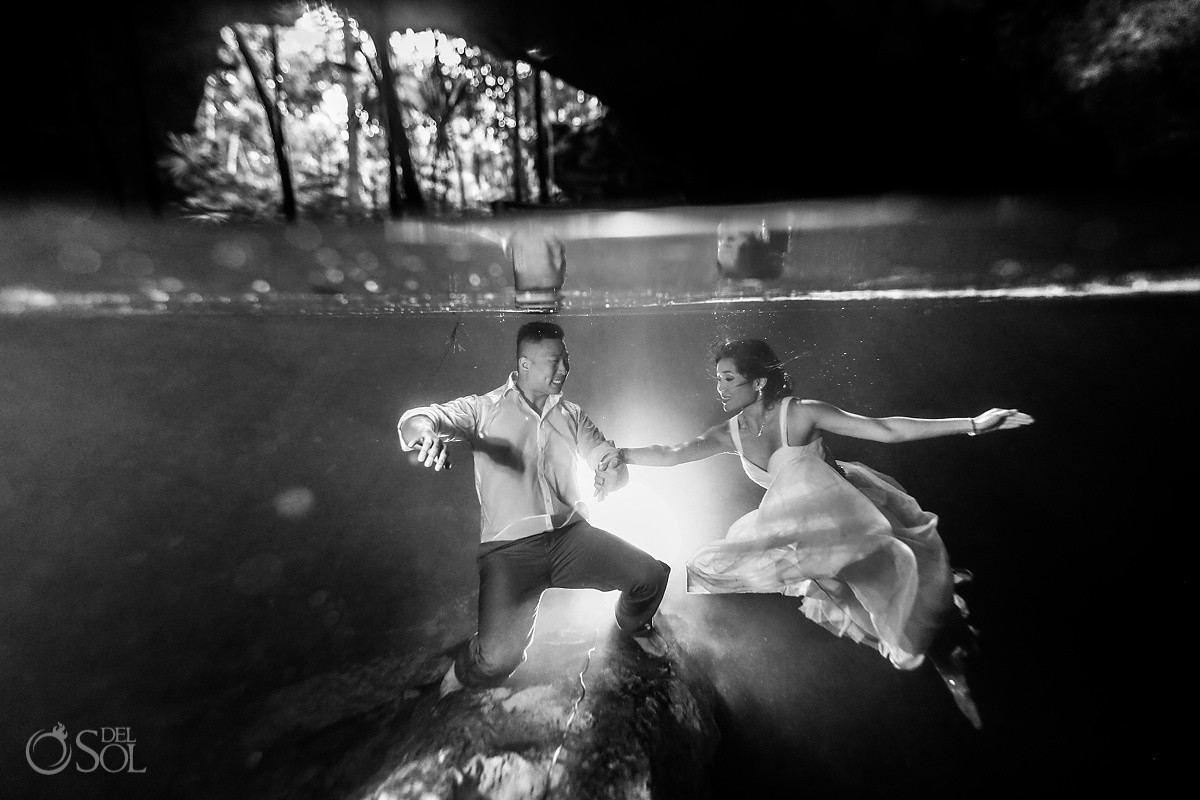 bride underwater photograph black white monochrome cenote