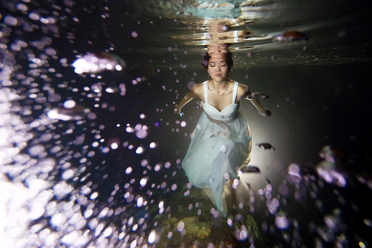 Underwater photograph mermaid bride cenotes Riviera Maya Mexico