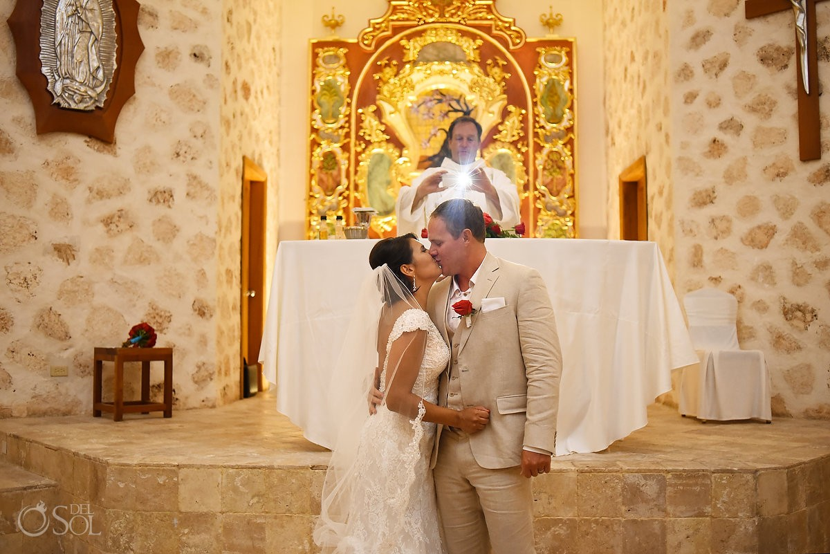 Father Reiner first kiss Our Lady of Paradise mexico wedding chapel