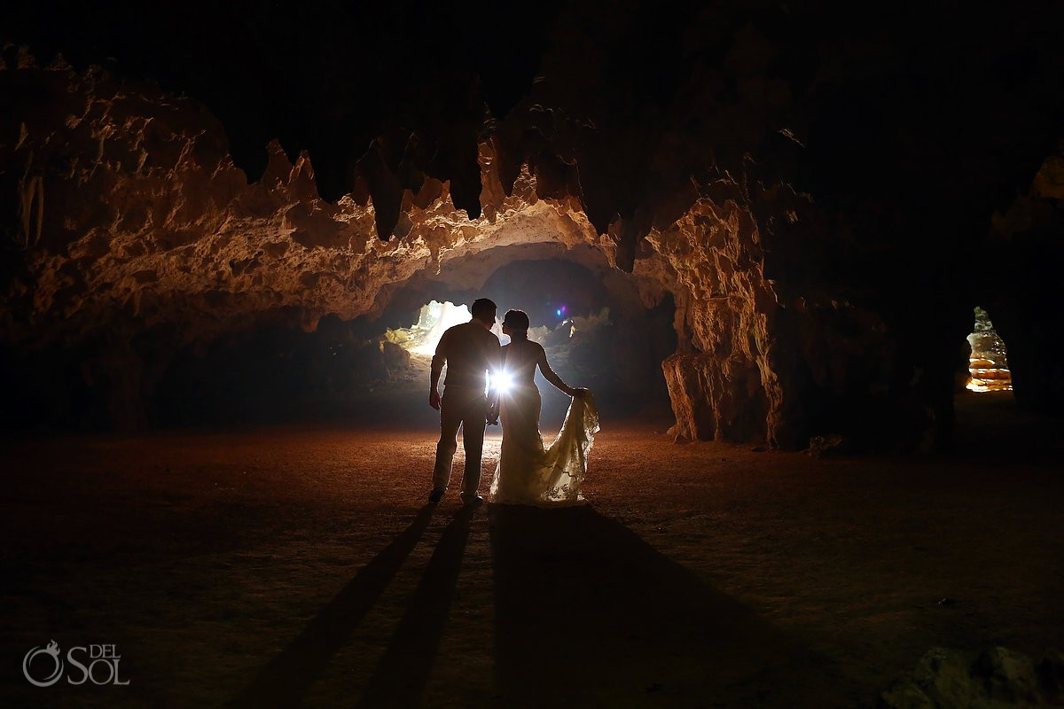 wedding portrait cenote Aktun-Chen dry cave National geographic top 10 underground walks