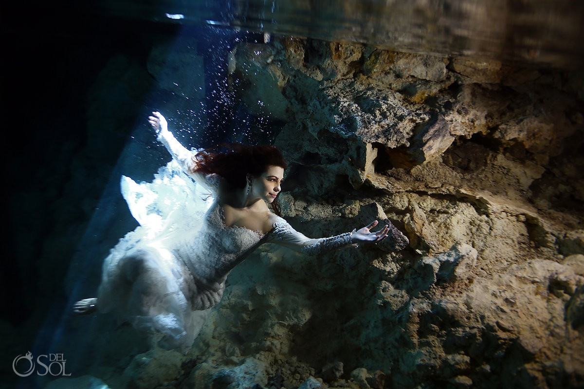 beautiful mermaid bride Cenote Aktun-Chen Trash the Dress Riviera Maya, Mexico