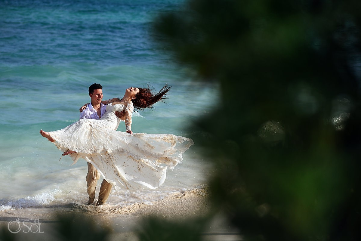 happy bride and groom beach wedding portrait Trash the Dress Riviera Maya, Mexico