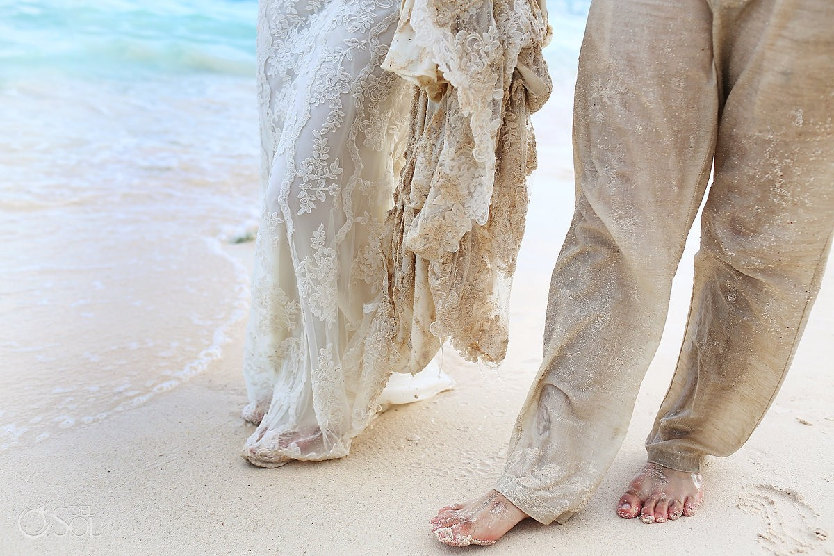 detail bride and groom feet on the beach wedding portrait Trash the Dress Riviera Maya, Mexico