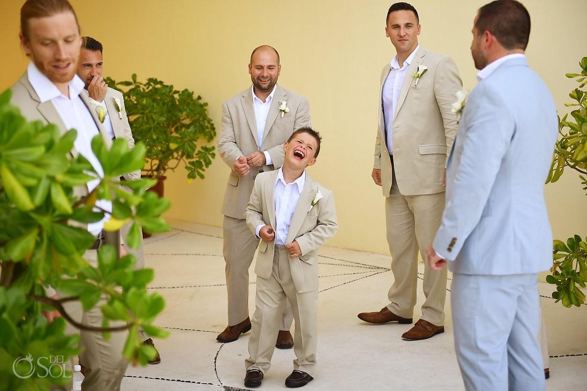 cute kid ring bearer laughing destination wedding Grand Velas Resort, Playa del Carmen, Mexico
