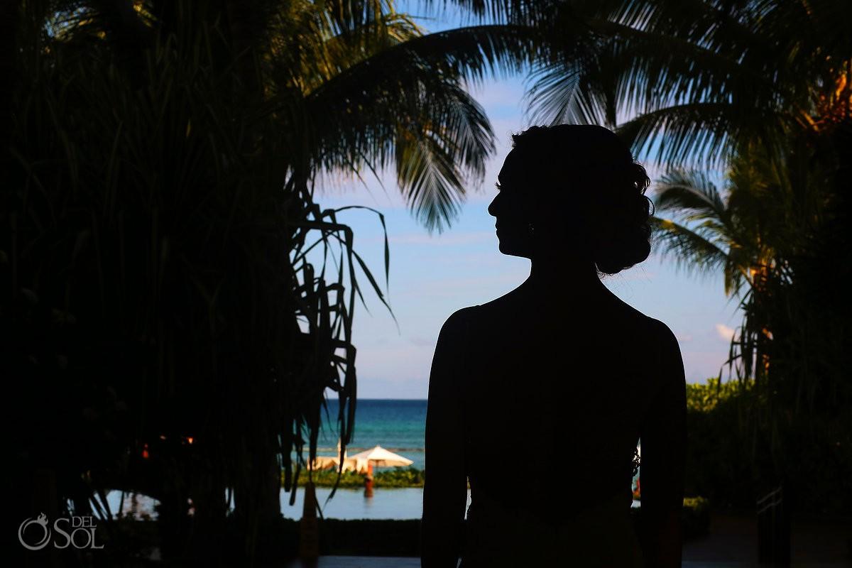 bride silhouette portrait Caribbean ocean palm trees destination wedding Grand Velas Resort, Playa del Carmen, Mexico