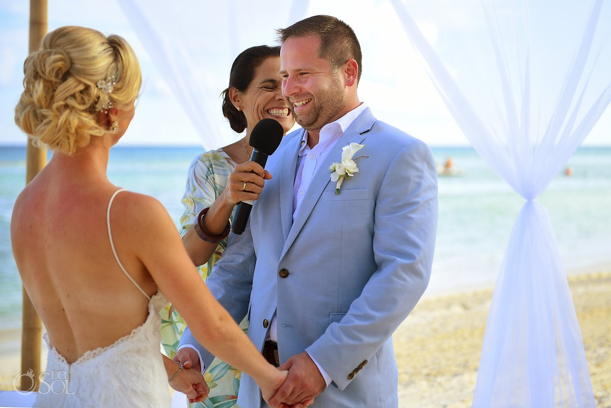 vow exchange beach ceremony destination wedding Grand Velas Resort, Playa del Carmen, Mexico