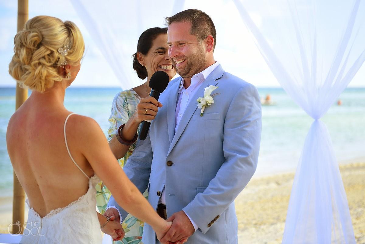vow exchange beach ceremony destination wedding Grand Velas Resort, Playa del Carmen, Mexico