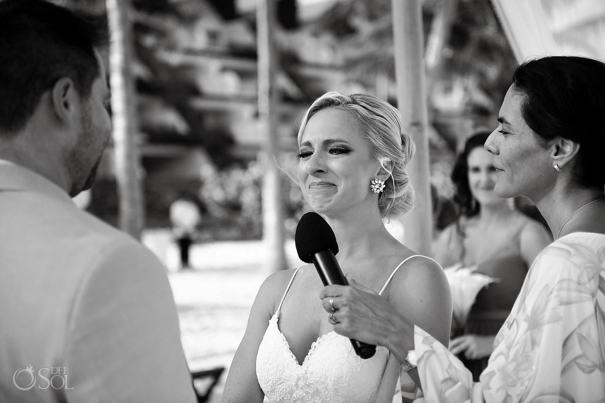 emotional bride crying beach ceremony destination wedding Grand Velas Resort, Playa del Carmen, Mexico
