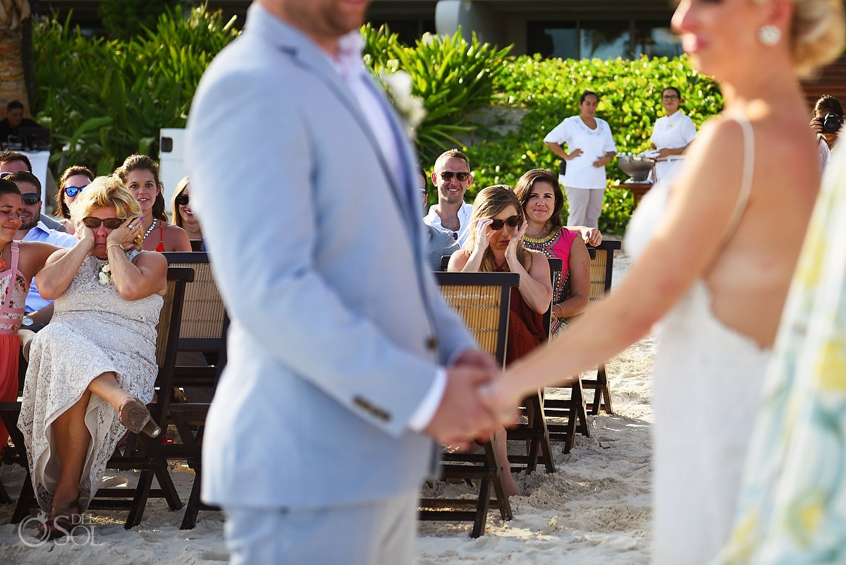 emotional guests crying beach ceremony destination wedding Grand Velas Resort, Playa del Carmen, Mexico