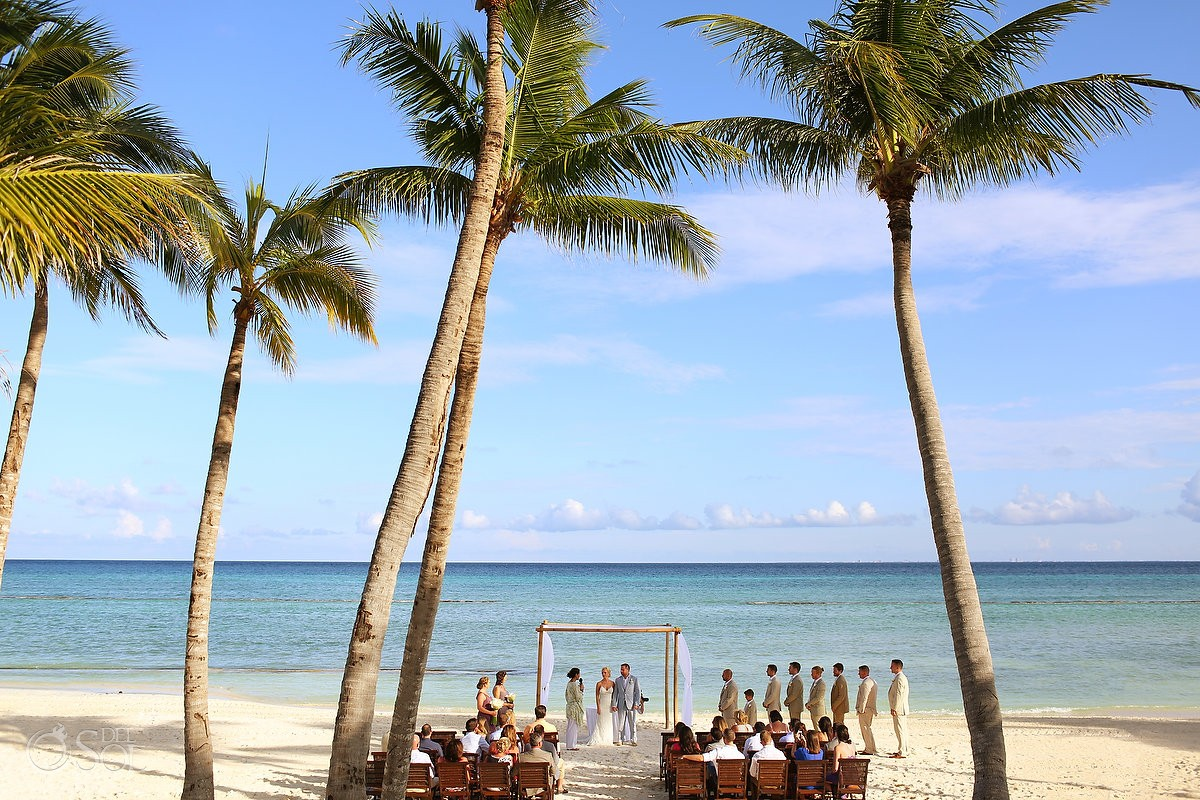 beach ceremony destination wedding Grand Velas Resort, Playa del Carmen, Mexico