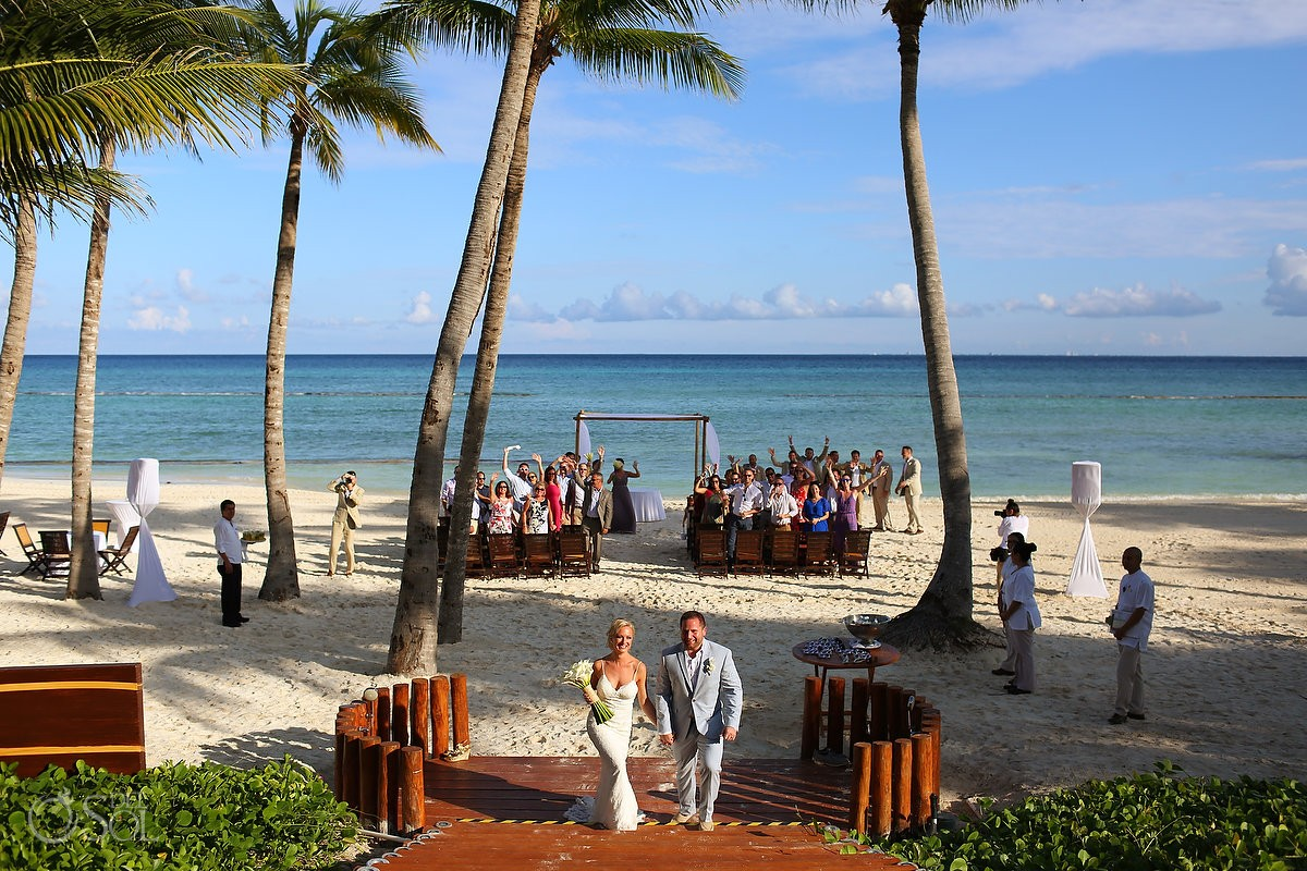 epic exit beach ceremony destination wedding Grand Velas Resort, Playa del Carmen, Mexico