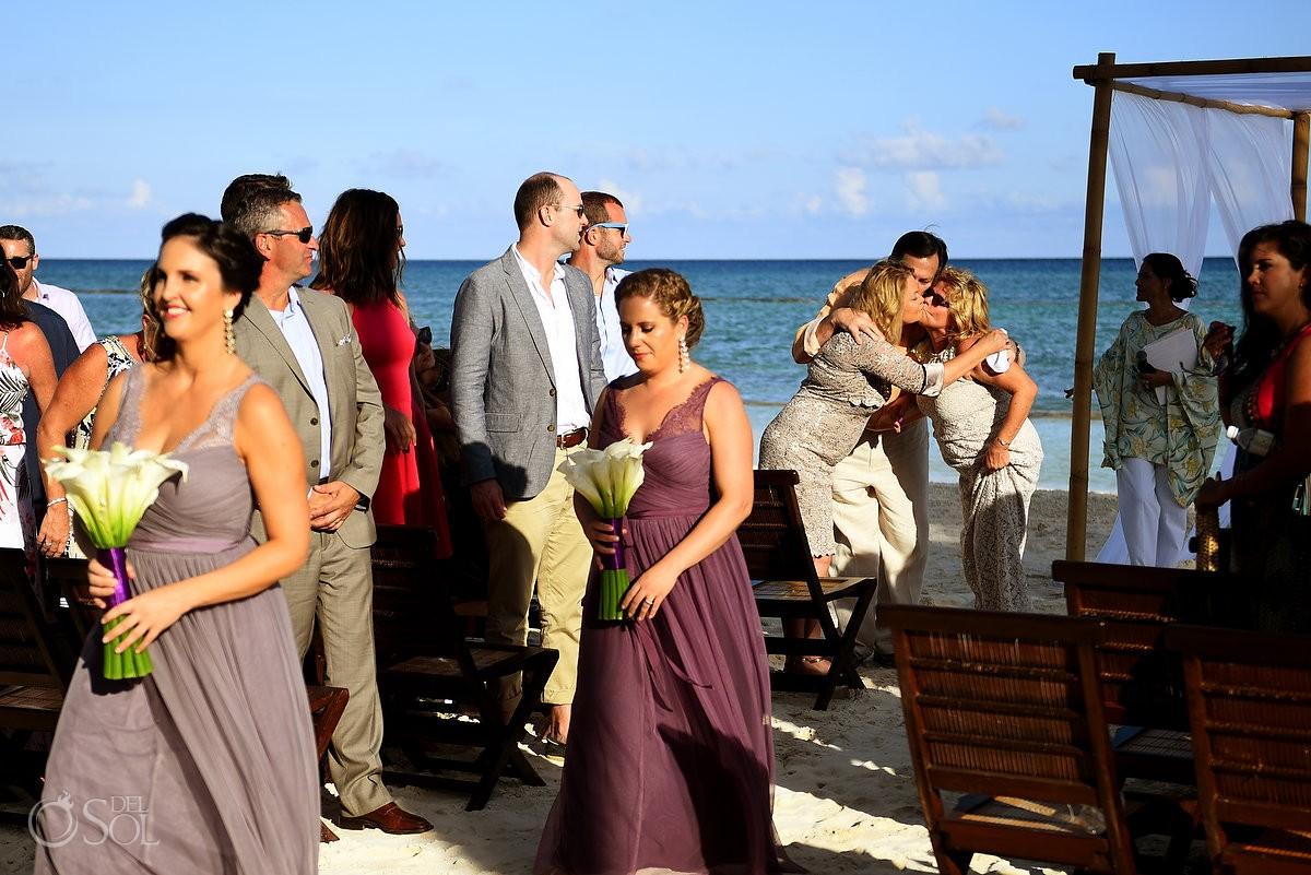 mothers kiss family love beach destination wedding Grand Velas Resort, Playa del Carmen, Mexico