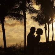 sunset silhouette beach portrait destination wedding Grand Velas Resort, Playa del Carmen, Mexico
