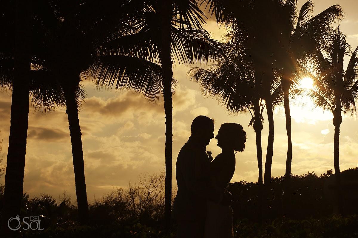 sunset silhouette beach portrait destination wedding Grand Velas Resort, Playa del Carmen, Mexico