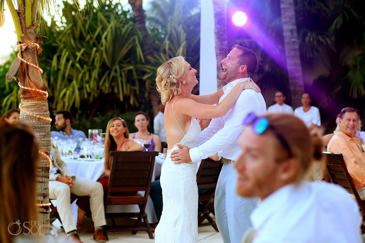 first dance destination wedding reception Zen Pool Terrace Grand Velas Resort, Playa del Carmen, Mexico